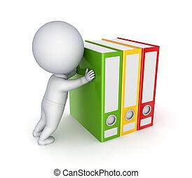 coloridos, folders., empurrar, pessoa, 3d, pequeno
