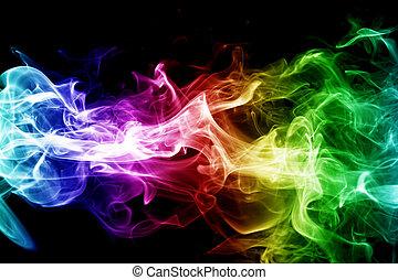 coloridos, fumaça