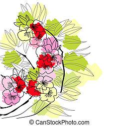 coloridos, fundo, floral