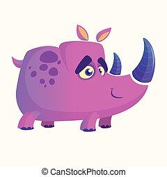 coloridos, imagem, rinoceronte, vetorial, rhino., violeta, caricatura, mascote
