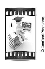 coloridos, laptop, lustroso, faixa, película, homem, chapéu, graduação, 3d, senta-se, boks.