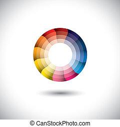 coloridos, modernos, luminoso, vetorial, trendy, círculo, ícone