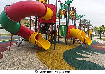 coloridos, modernos, parque, crianças, pátio recreio, público