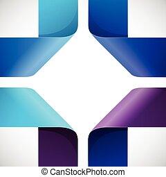 coloridos, moebius, papel, fundo, origami, branca, triângulos