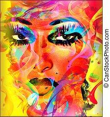 coloridos, mulher, face abstrata
