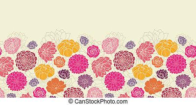 coloridos, padrão, abstratos, seamless, horizontais, flores, borda