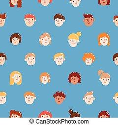 coloridos, padrão, meninas, seamless, meninos, caras