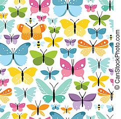 coloridos, padrão, seamless, borboletas, lote, divertimento