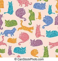 coloridos, padrão, seamless, silhuetas, gatos, fundo