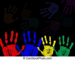 coloridos, pretas, isolado, impressões, mão