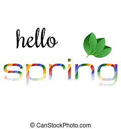 coloridos, primavera, folhas, verde, frase, olá