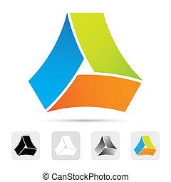coloridos, projeto abstrato, element., logotipo