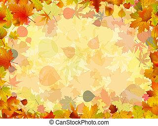 coloridos, quadro, formado, leaves., eps, outono, 8