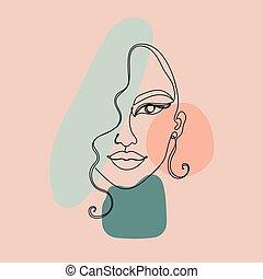 coloridos, rosto, contínuo, pretas, imagem, linha, mulher, abstratos, experiência.