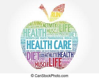 coloridos, saúde, maçã, cuidado