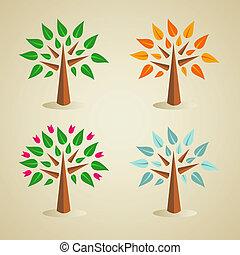 coloridos, sazonal, árvore, jogo