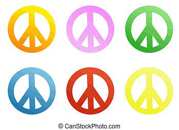 coloridos, sinais paz