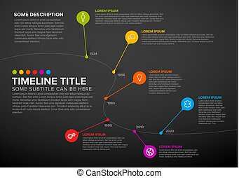 coloridos, timeline, infographic, modelo, relatório, bolhas