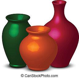 coloridos, vasos