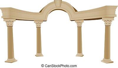 coluna, grego, arco, 3d