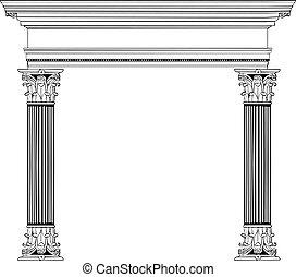 coluna, grego, arco