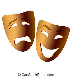 comédia, máscaras tragédia