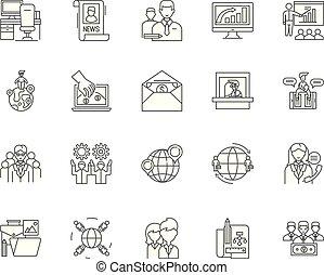 comércio, conceito, esboço, jogo, ícones, ilustração, vetorial, câmaras, linha, sinais