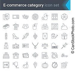comércio eletrônico, online, jogo, style., vetorial, móvel, digital, loja, ícones, linha, qualidade, teia, illustration., alto, marketing., shopping