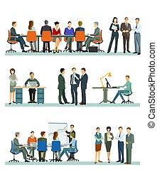 comércio pessoas, escritório, grupo, reunião