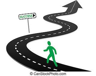 começar, sucesso, curvas, viagem, iniciativa, rodovia