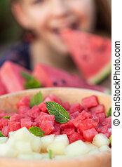 comer, conceito, lanche, -, saudável, melancia, menina