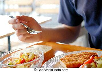 comer, restaurante, saudável, aquilo, alimento, homem