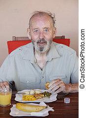 comer, saudável, residencial, lar, sênior, refeição, cuidado