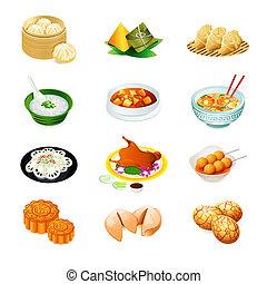 comida chinês, ícones