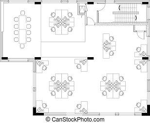 commerical, esquema, escritório, floorplan