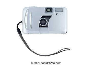 compacto, experiência., branca, câmera, isolado