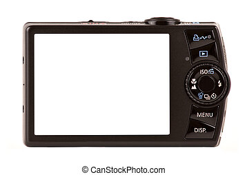 compacto, isolado, câmera, digital, branca, vista traseira