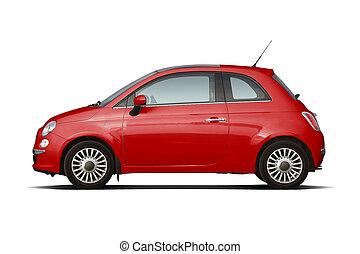 compacto, vermelho, hatchback