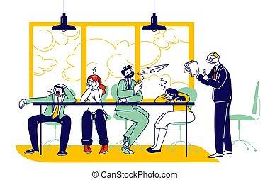 companhia, ou, enfadonho, explicar, dados, escritório, pessoas, caráteres, aborrecido, presentation., linear, análise, ilustração, homem negócios, estratégia, businesspeople, reunião, dormir, desk., vetorial, empregados