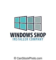 company., illustration., janelas, logotipo, vetorial, store., instalador