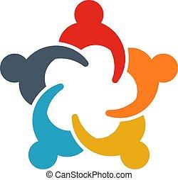 compartilhar, grupo, pessoas negócio, pessoas., ilustração, ideas., logotipo, reunião