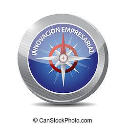 compasso, inovação, sinal, negócio, espanhol