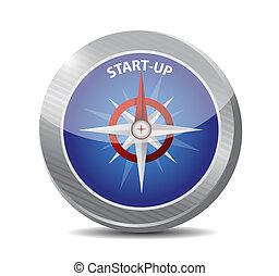 compasso, start-up, conceito, ilustração, sinal
