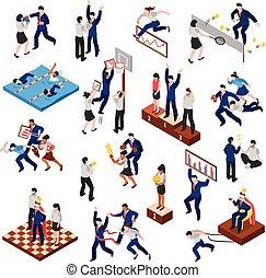 competições, isometric, jogo, caráteres, negócio