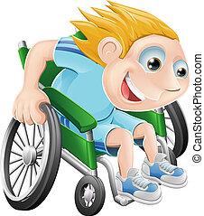 competir wheelchair, caricatura, homem