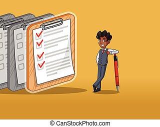 completado, checklists, caneta, colete, inclinar-se, homem negócios