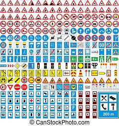 completamente, europeu, tráfego, vetorial, editable, três, cem, sinais