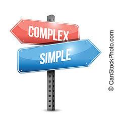 complexo, simples, desenho, ilustração, sinal