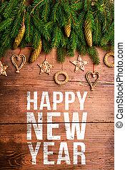 composição, feliz, ano, novo