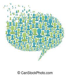 composto, bolha, pessoas, conceito, muitos, fala, eps8, social, vetorial, silhouettes., rede